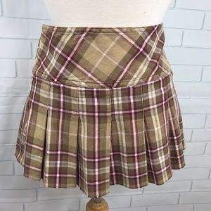 Aeropostale 5/6 mini plaid skirt red tan tartan
